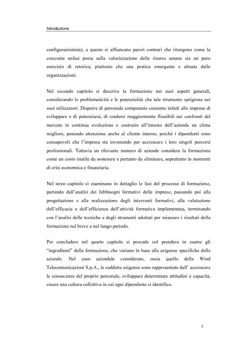 Anteprima della tesi: Investire in risorse umane: il ruolo della formazione - Il caso Wind, Pagina 2