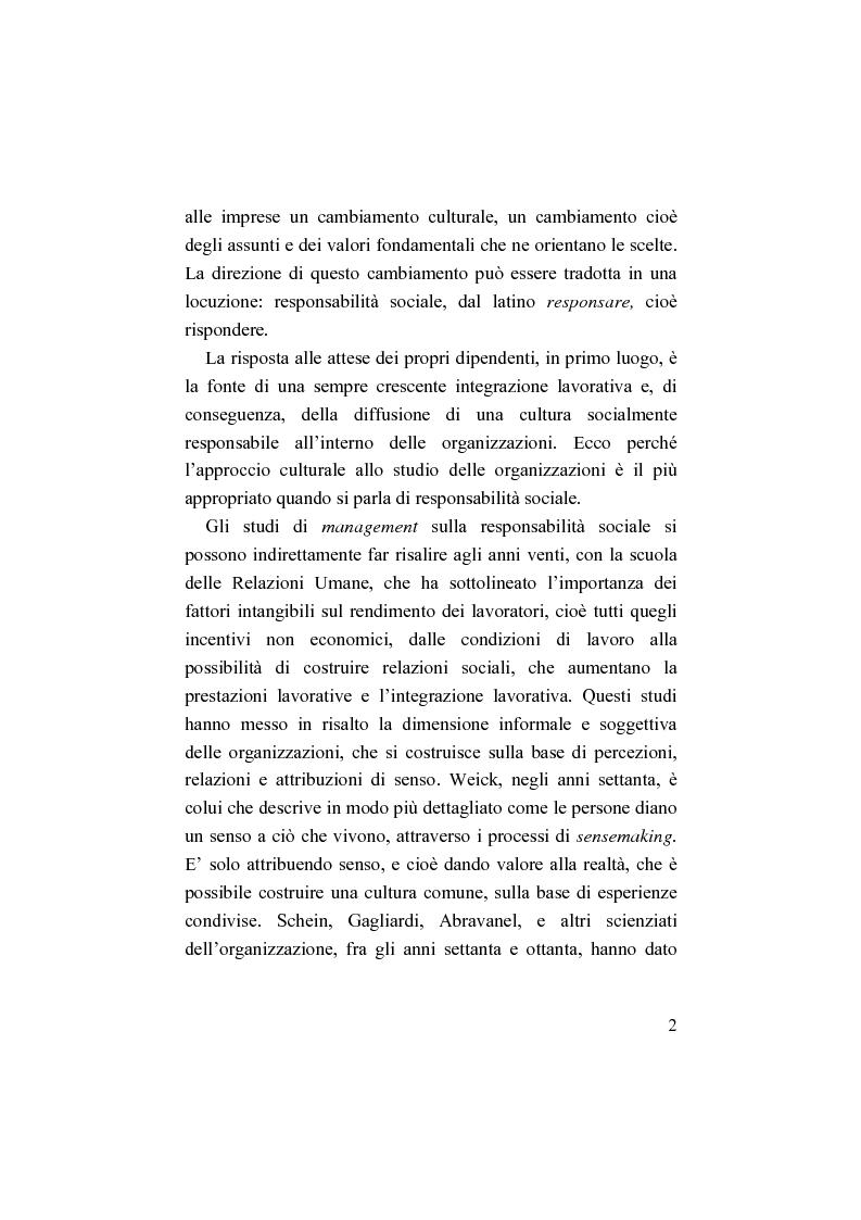 Anteprima della tesi: Il bilancio sociale. Processi di integrazione lavorativa e costruzione della cultura organizzativa, Pagina 2