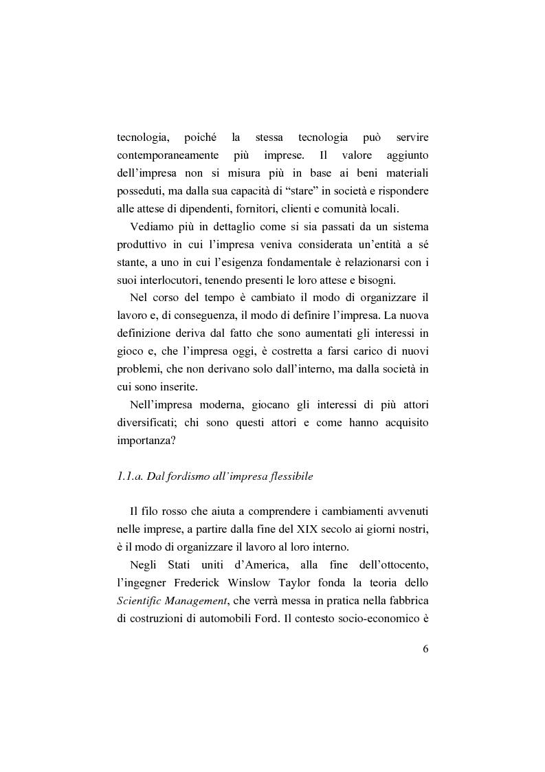 Anteprima della tesi: Il bilancio sociale. Processi di integrazione lavorativa e costruzione della cultura organizzativa, Pagina 6