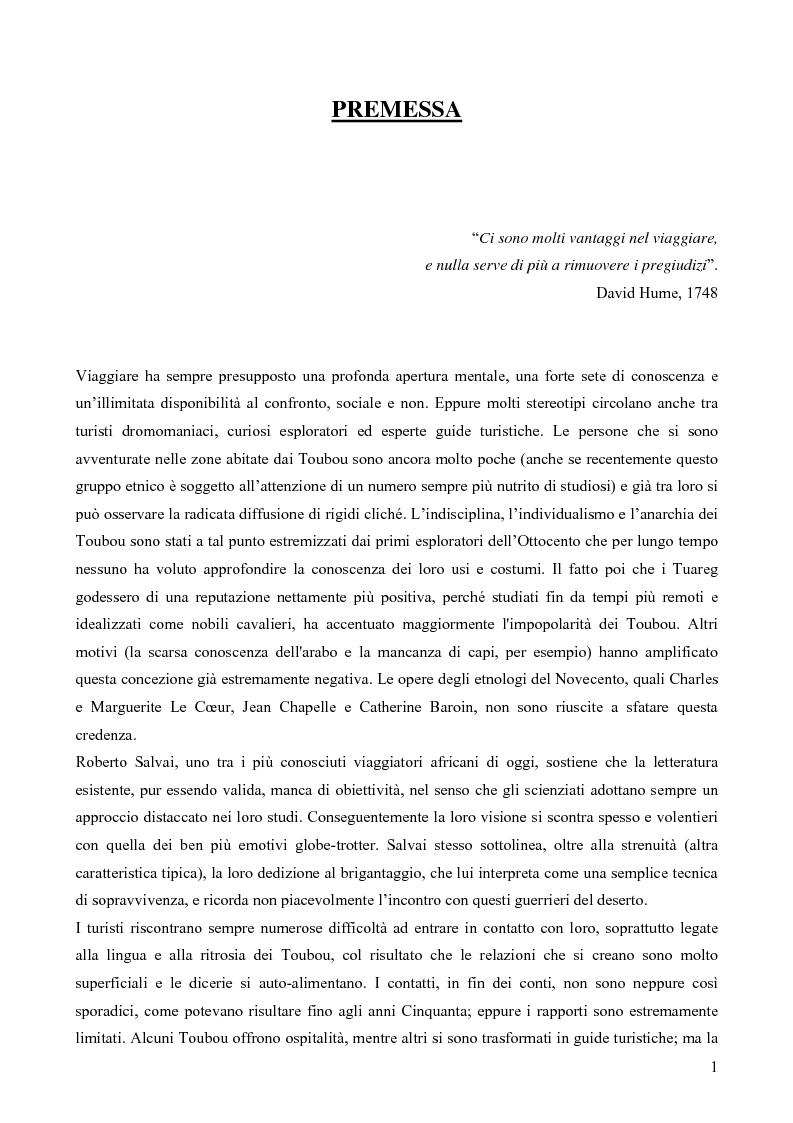 """Anteprima della tesi: I Toubou del Ciad, """"razza fossile vivente"""": valutazioni sul turismo etnologico esistente e potenziale, Pagina 1"""