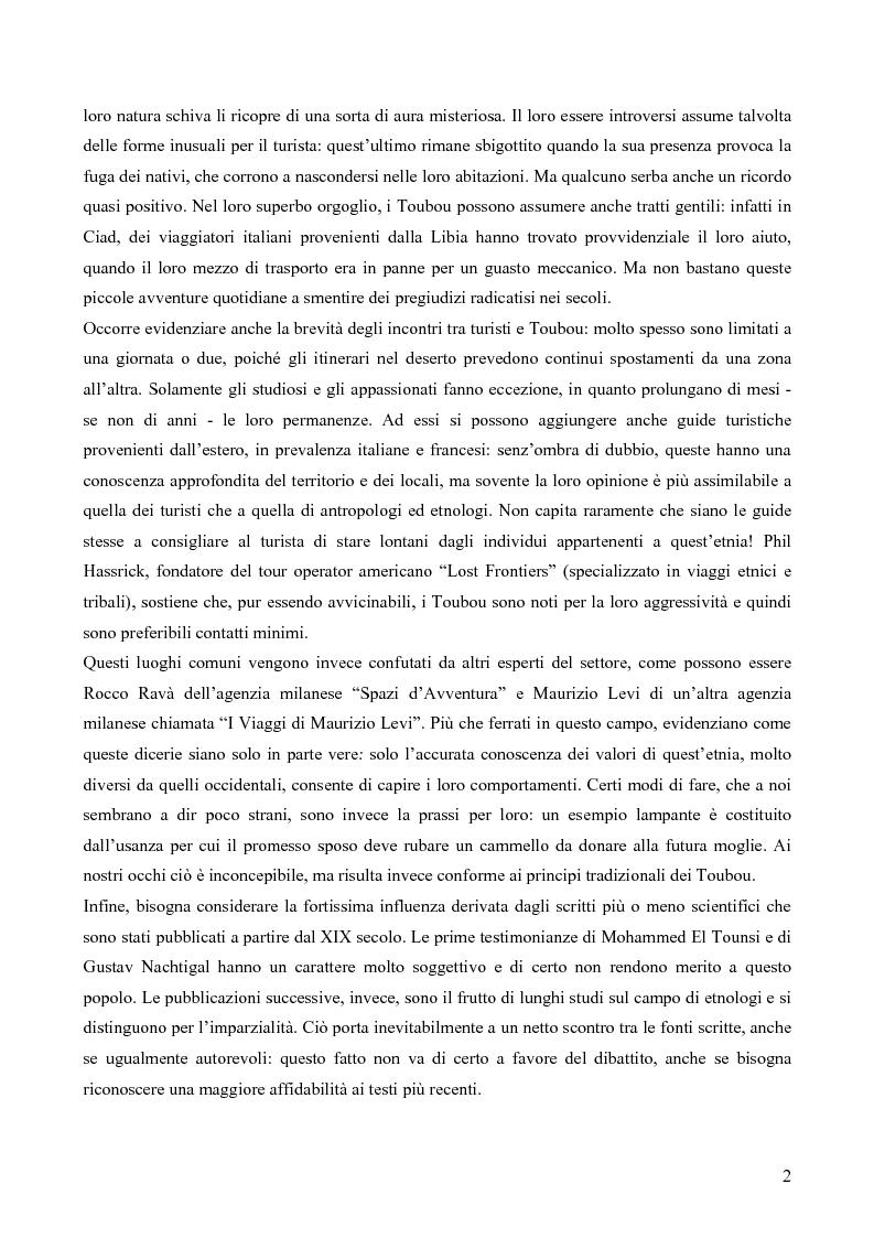 """Anteprima della tesi: I Toubou del Ciad, """"razza fossile vivente"""": valutazioni sul turismo etnologico esistente e potenziale, Pagina 2"""