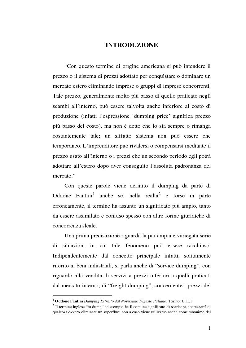 Anteprima della tesi: Il dumping e l'antidumping nell'Organizzazione Mondiale del Commercio, Pagina 1