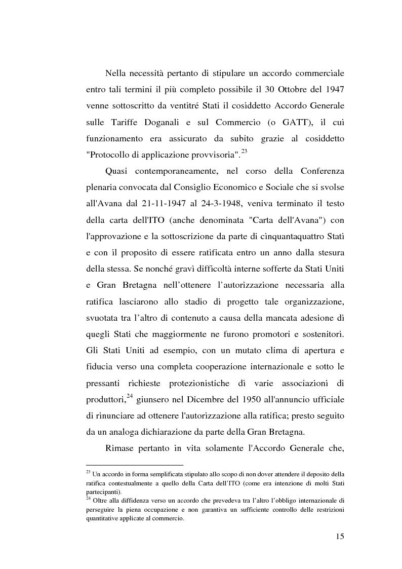 Anteprima della tesi: Il dumping e l'antidumping nell'Organizzazione Mondiale del Commercio, Pagina 15