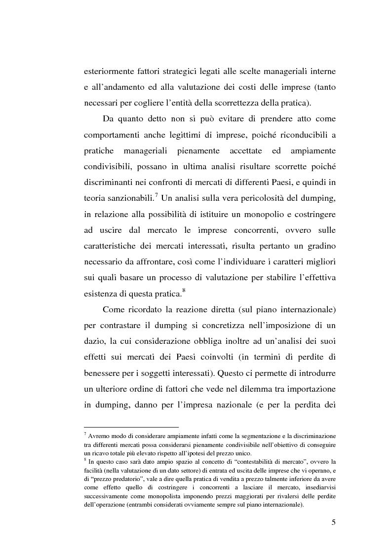 Anteprima della tesi: Il dumping e l'antidumping nell'Organizzazione Mondiale del Commercio, Pagina 5