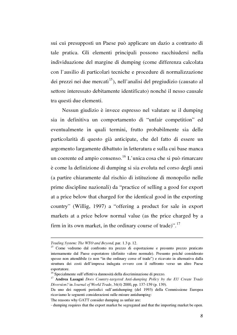 Anteprima della tesi: Il dumping e l'antidumping nell'Organizzazione Mondiale del Commercio, Pagina 8