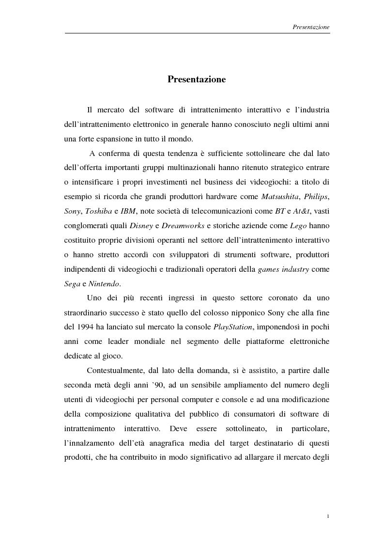 Anteprima della tesi: Strategie di marketing nel mercato del software di intrattenimento interattivo, Pagina 1