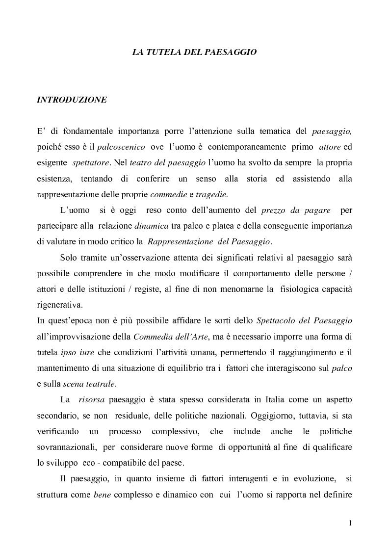 Anteprima della tesi: La Tutela del Paesaggio, Pagina 1