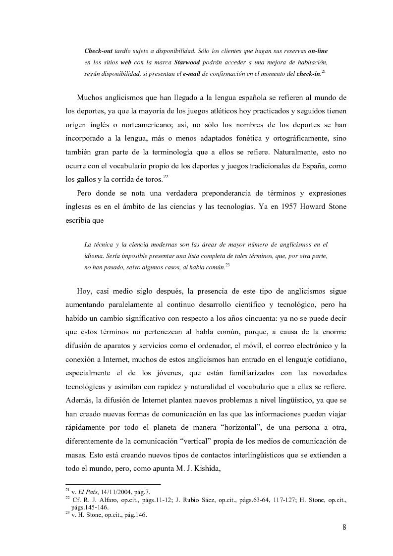 Anteprima della tesi: La influencia de la lengua inglesa en el español contemporáneo, Pagina 7