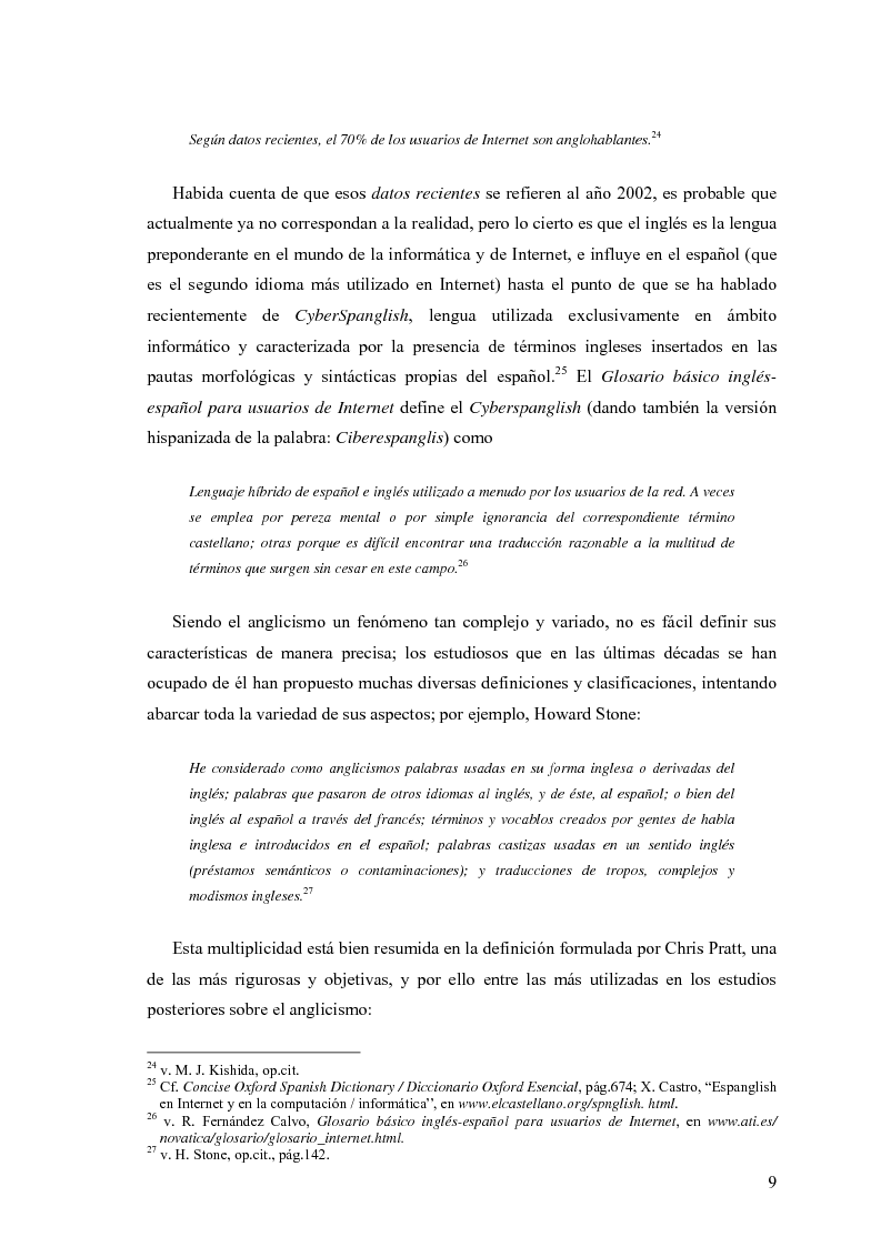 Anteprima della tesi: La influencia de la lengua inglesa en el español contemporáneo, Pagina 8