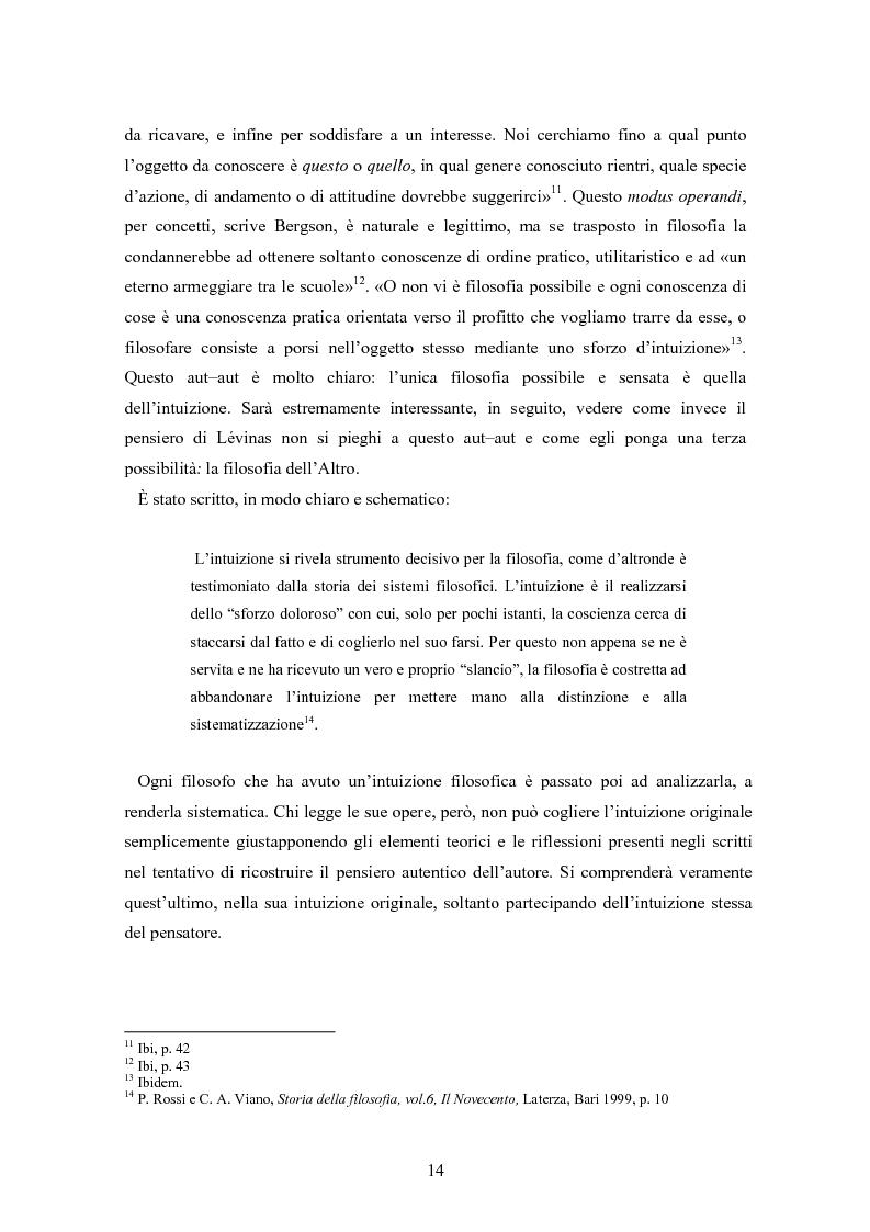 Anteprima della tesi: Bergson e Lévinas: emozione creatrice ed alterità, Pagina 10
