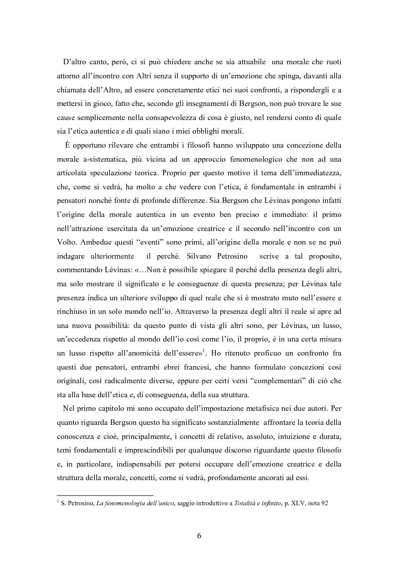 Anteprima della tesi: Bergson e Lévinas: emozione creatrice ed alterità, Pagina 2