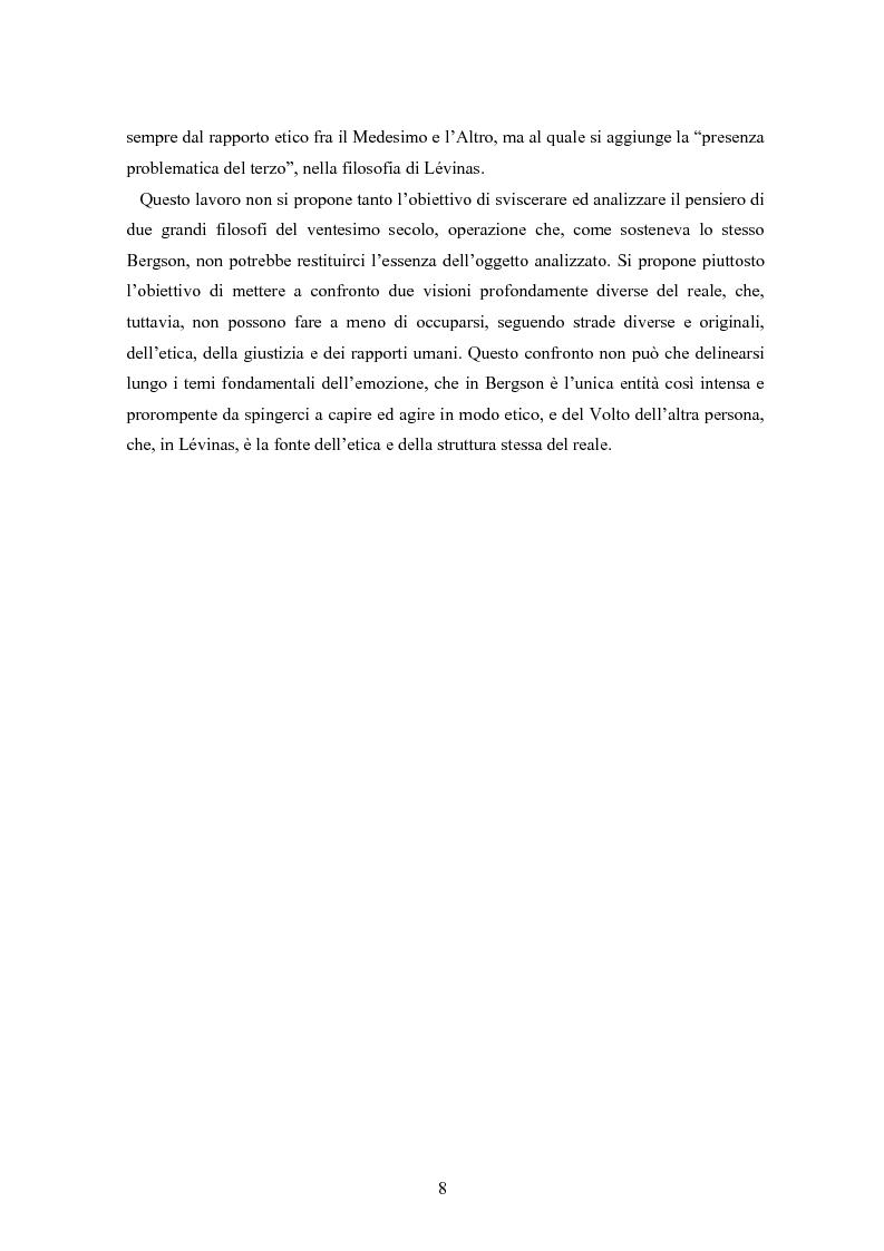 Anteprima della tesi: Bergson e Lévinas: emozione creatrice ed alterità, Pagina 4