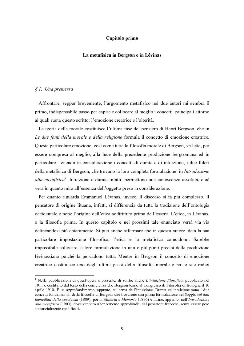 Anteprima della tesi: Bergson e Lévinas: emozione creatrice ed alterità, Pagina 5