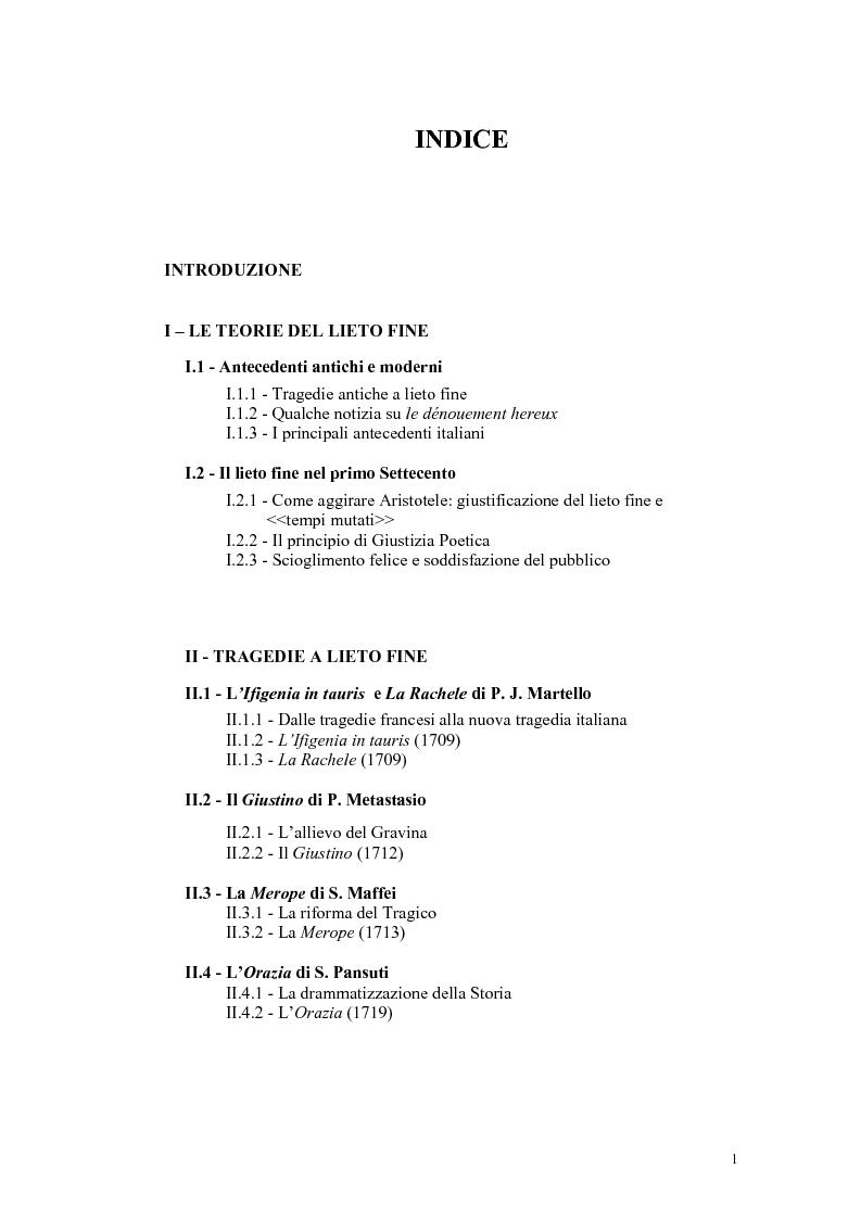 Indice della tesi: Tragedie a lieto fine del primo Settecento, Pagina 1