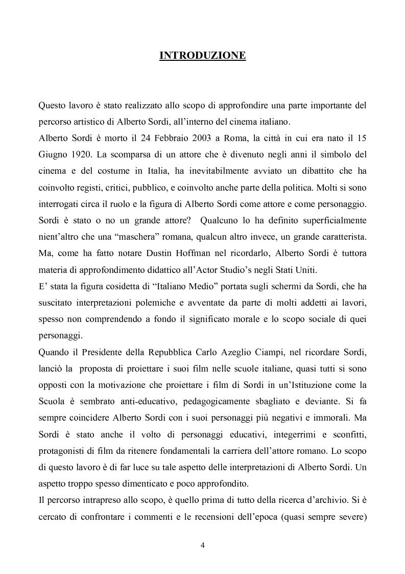 Anteprima della tesi: Tre personaggi etici del cinema di Alberto Sordi: Il vigile, Una vita difficile, Il commissario, Pagina 1