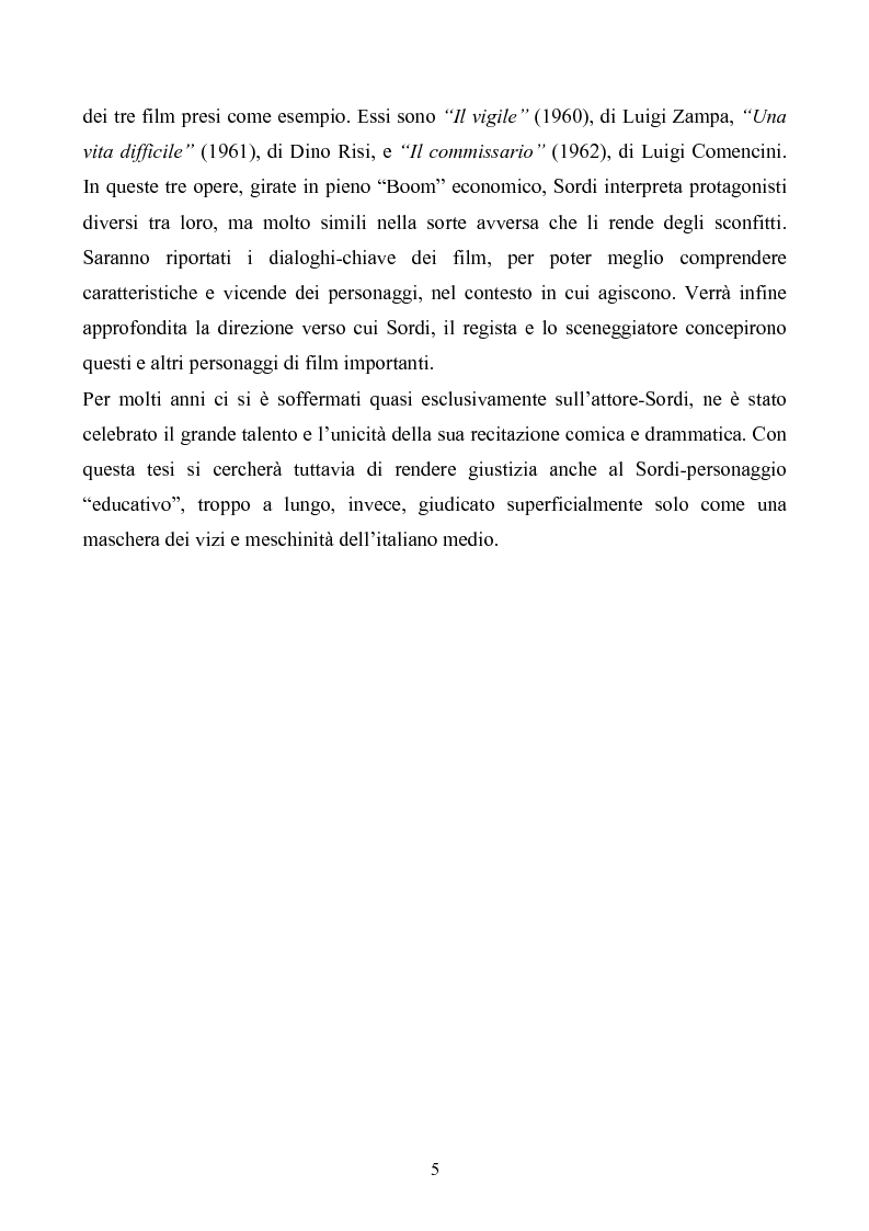 Anteprima della tesi: Tre personaggi etici del cinema di Alberto Sordi: Il vigile, Una vita difficile, Il commissario, Pagina 2