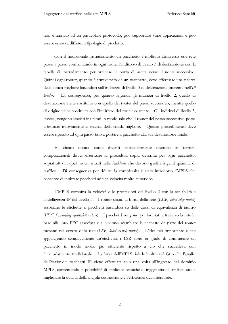 Anteprima della tesi: Ingegneria del traffico nelle reti MPLS, Pagina 2