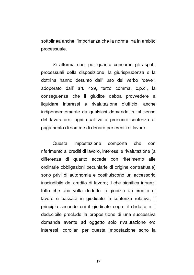 Anteprima della tesi: L'art. 429, terzo comma, c.p.c. , nella legislazione e nella giurisprudenza più recenti, Pagina 11
