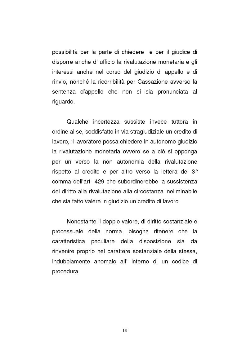 Anteprima della tesi: L'art. 429, terzo comma, c.p.c. , nella legislazione e nella giurisprudenza più recenti, Pagina 12