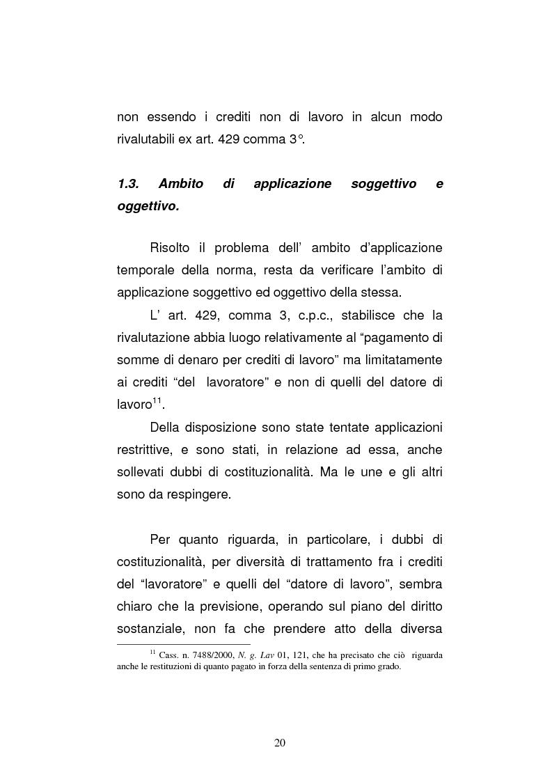 Anteprima della tesi: L'art. 429, terzo comma, c.p.c. , nella legislazione e nella giurisprudenza più recenti, Pagina 14