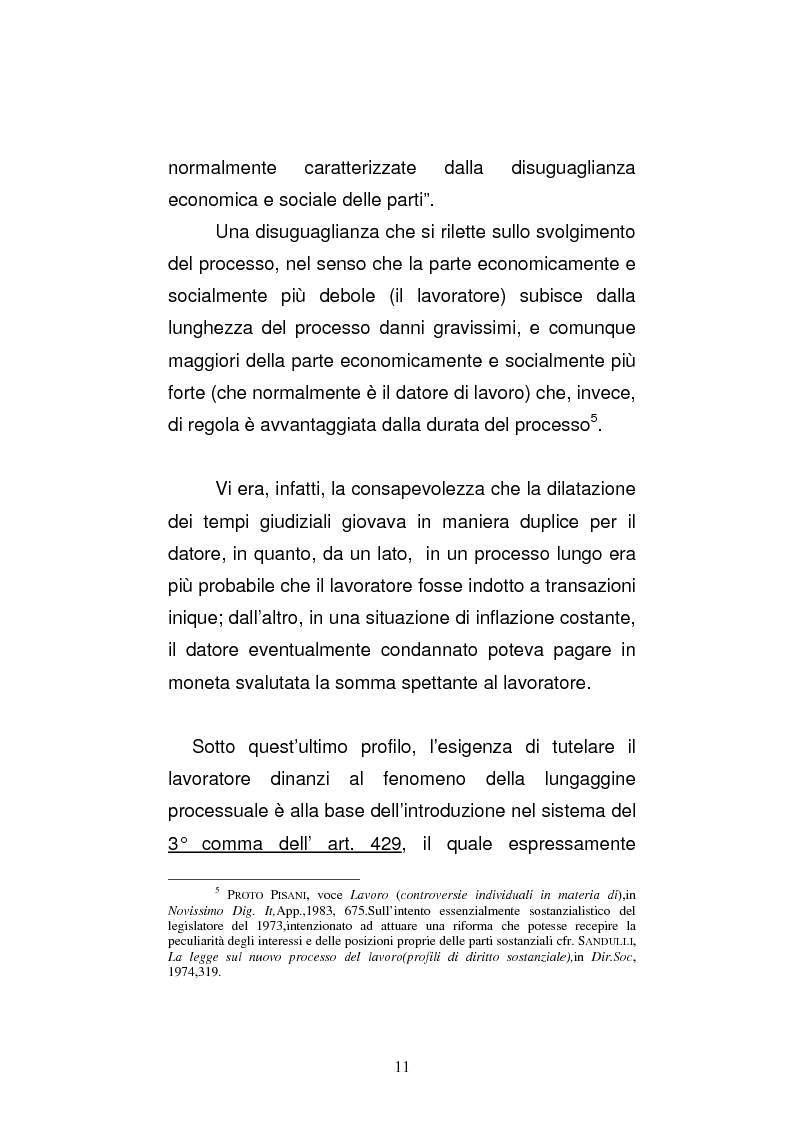 Anteprima della tesi: L'art. 429, terzo comma, c.p.c. , nella legislazione e nella giurisprudenza più recenti, Pagina 5