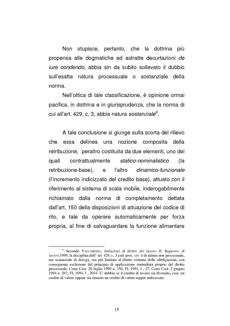 Anteprima della tesi: L'art. 429, terzo comma, c.p.c. , nella legislazione e nella giurisprudenza più recenti, Pagina 9
