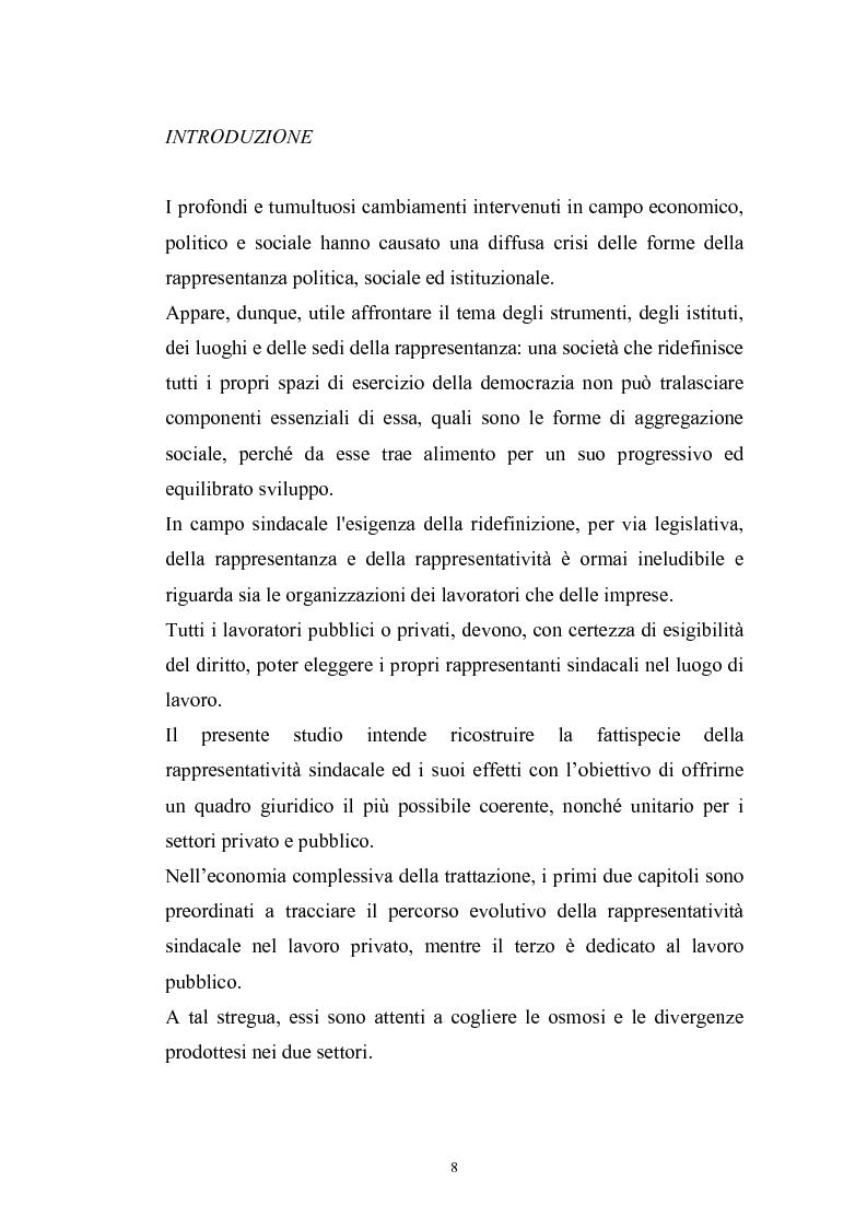 Anteprima della tesi: Le rappresentanze sindacali unitarie nel lavoro privato e pubblico, Pagina 1