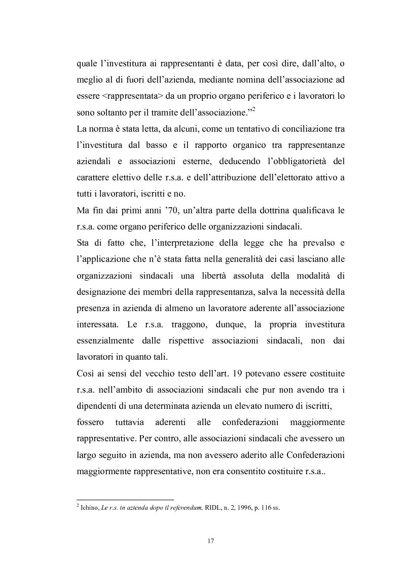 Anteprima della tesi: Le rappresentanze sindacali unitarie nel lavoro privato e pubblico, Pagina 10