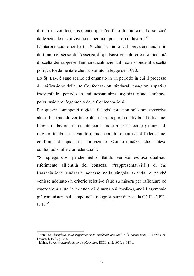 Anteprima della tesi: Le rappresentanze sindacali unitarie nel lavoro privato e pubblico, Pagina 12
