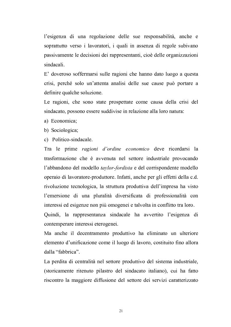Anteprima della tesi: Le rappresentanze sindacali unitarie nel lavoro privato e pubblico, Pagina 14