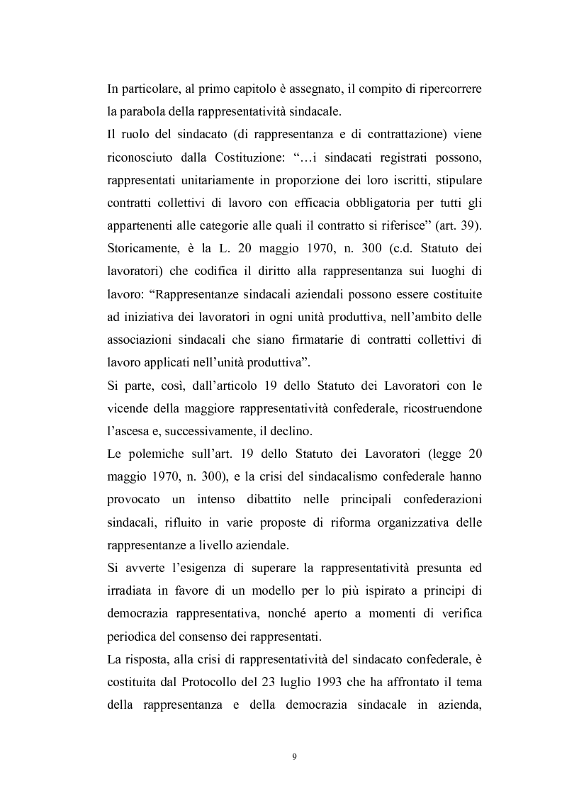 Anteprima della tesi: Le rappresentanze sindacali unitarie nel lavoro privato e pubblico, Pagina 2