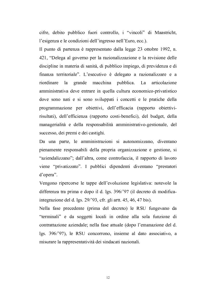 Anteprima della tesi: Le rappresentanze sindacali unitarie nel lavoro privato e pubblico, Pagina 5