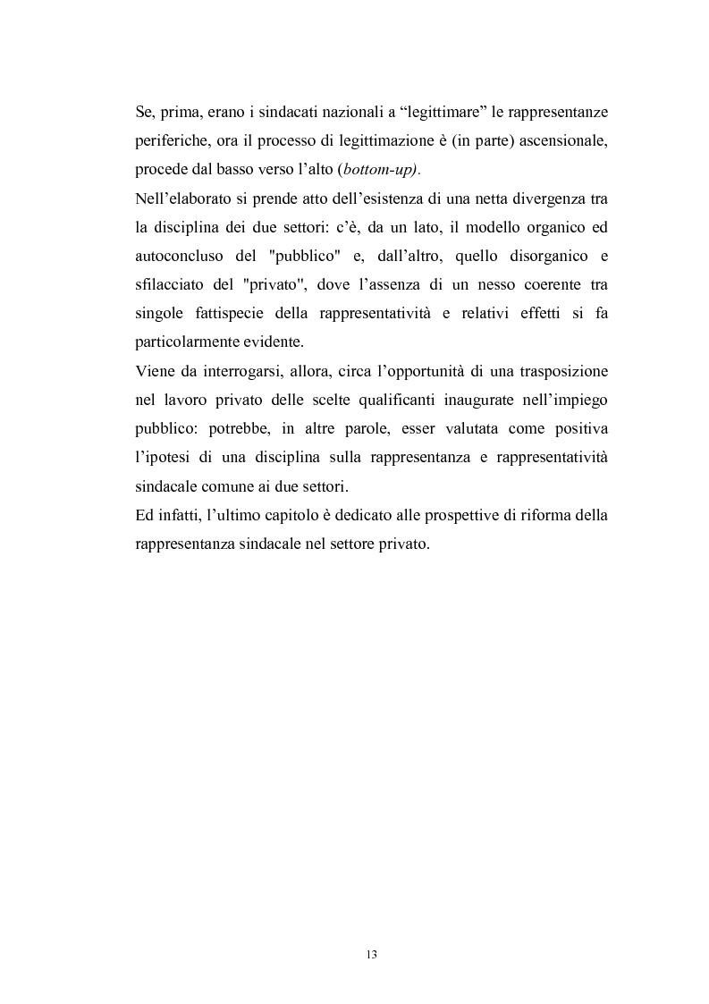 Anteprima della tesi: Le rappresentanze sindacali unitarie nel lavoro privato e pubblico, Pagina 6