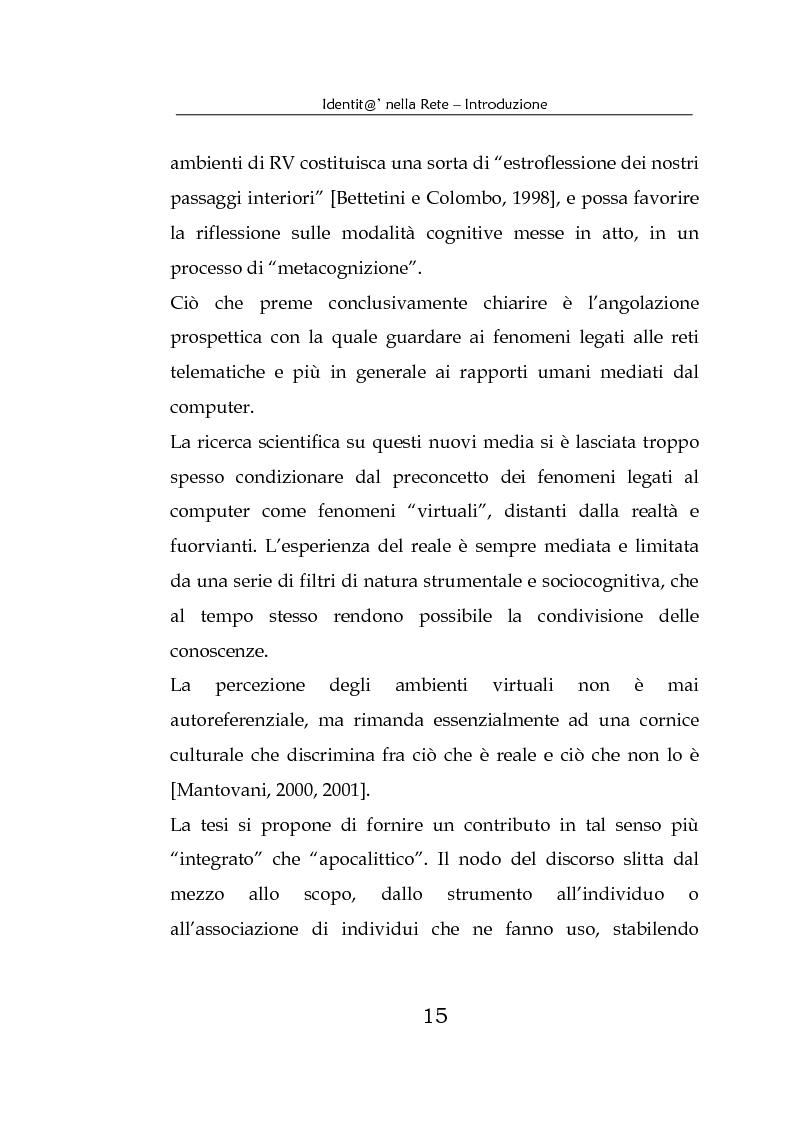 Anteprima della tesi: Identità nella Rete. Per una psicologia della comunicazione mediata dal computer, Pagina 12