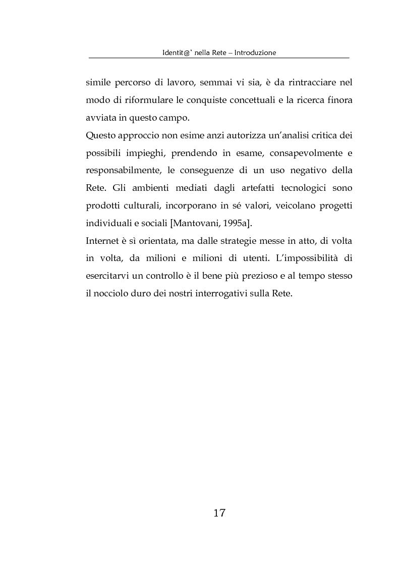 Anteprima della tesi: Identità nella Rete. Per una psicologia della comunicazione mediata dal computer, Pagina 14