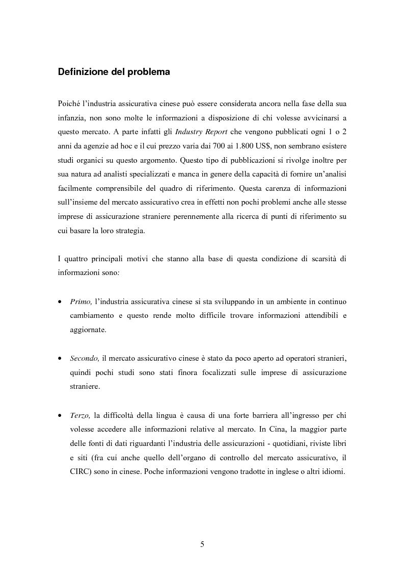 Anteprima della tesi: Situazione del mercato assicurativo cinese: ramo vita, Pagina 5