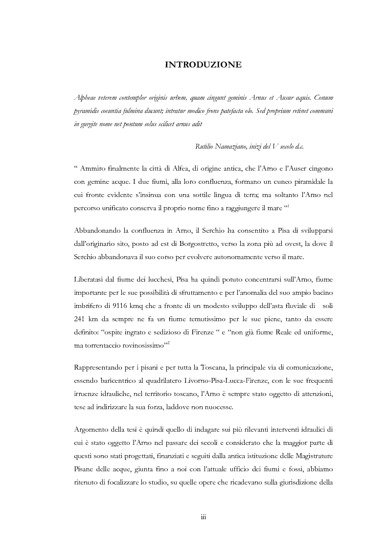 Anteprima della tesi: Interventi idraulici al fiume Arno nella storia, da Pontedera alla foce, Pagina 1