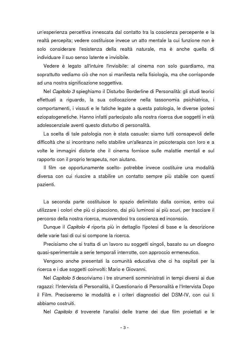 Anteprima della tesi: Il cinema parla dall'inconscio. Meccanismi di identificazione e di proiezione in due casi clinici esemplificativi di Disturbo Borderline di Personalità, Pagina 3
