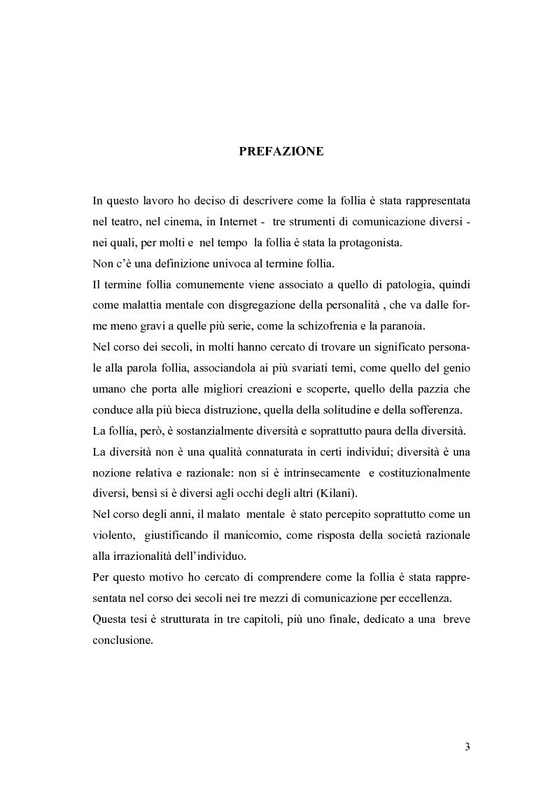 Anteprima della tesi: La rappresentazione della follia dal teatro alla comunicazione multimediale, Pagina 1