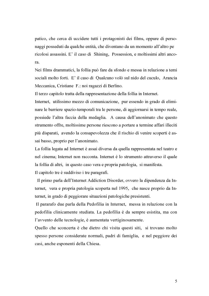 Anteprima della tesi: La rappresentazione della follia dal teatro alla comunicazione multimediale, Pagina 3
