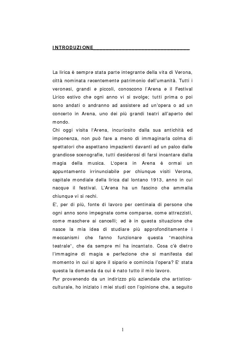 Anteprima della tesi: Dinamiche organizzative e gestionali nei teatri lirici italiani: il caso Fondazione Arena, Pagina 1