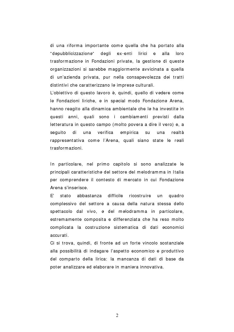 Anteprima della tesi: Dinamiche organizzative e gestionali nei teatri lirici italiani: il caso Fondazione Arena, Pagina 2
