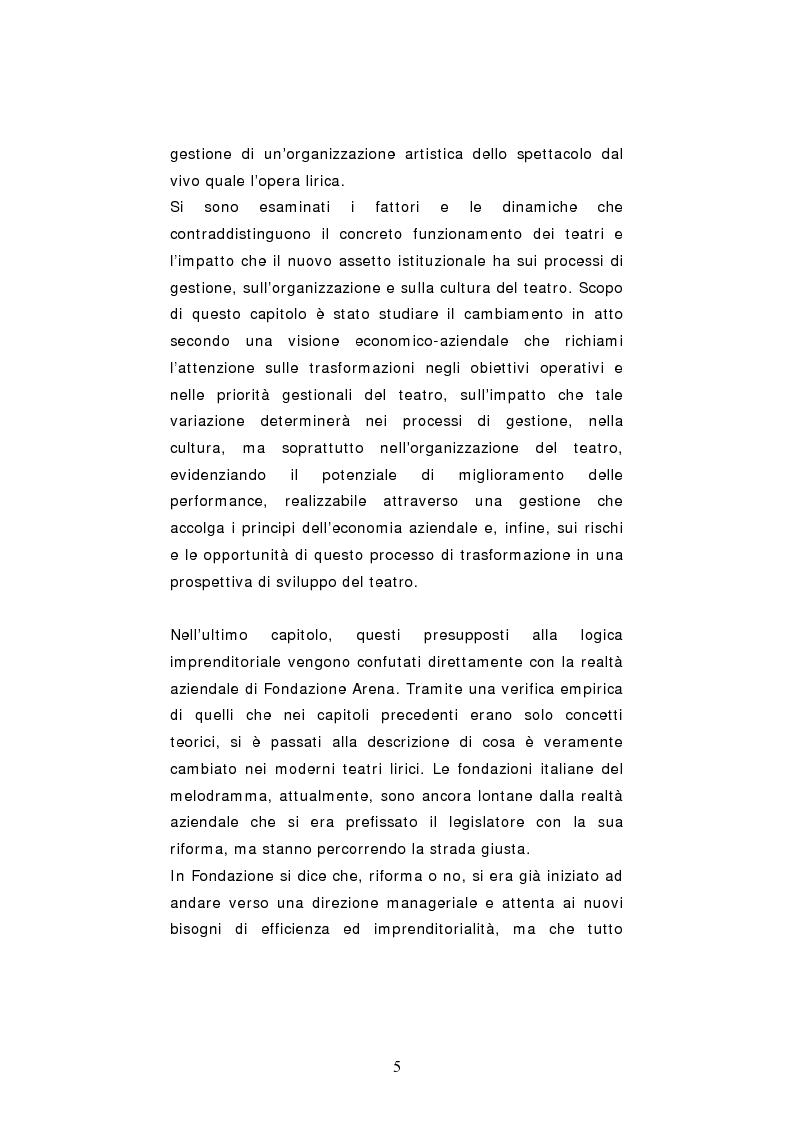 Anteprima della tesi: Dinamiche organizzative e gestionali nei teatri lirici italiani: il caso Fondazione Arena, Pagina 5