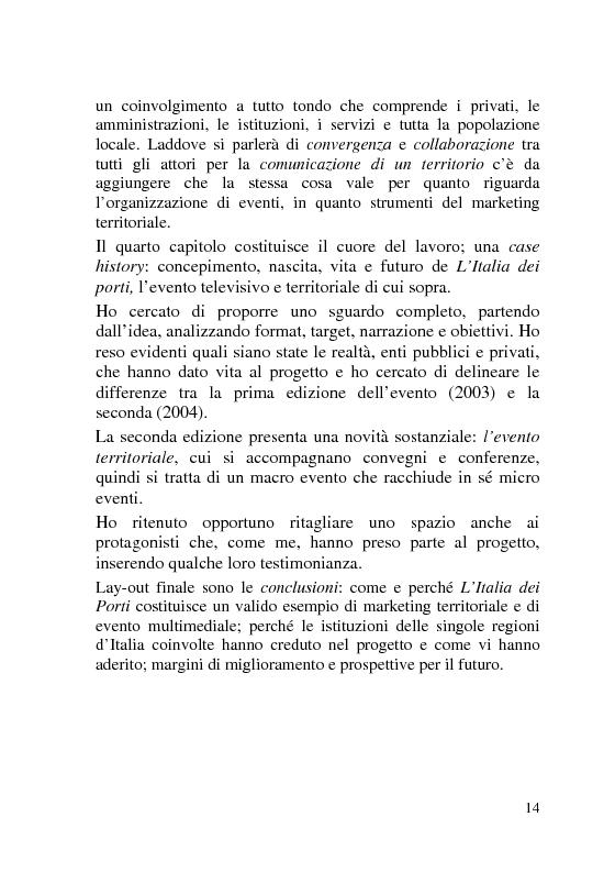 Anteprima della tesi: L'Italia dei Porti: tra evento televisivo e marketing territoriale, Pagina 5