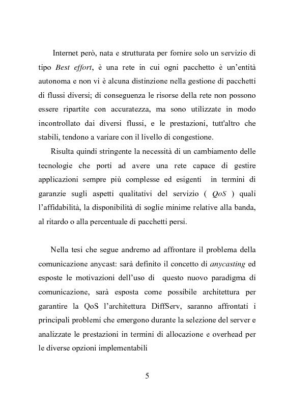 Anteprima della tesi: Architettura DiffServ per comunicazione anycast con QoS, Pagina 2