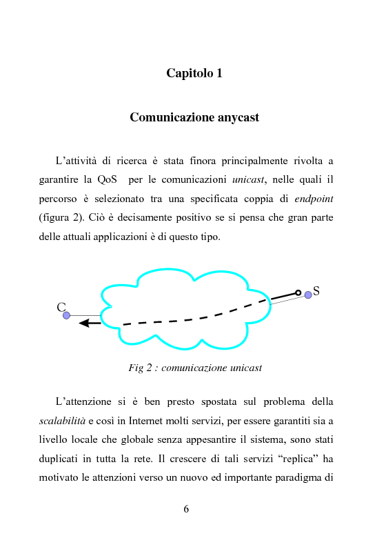 Anteprima della tesi: Architettura DiffServ per comunicazione anycast con QoS, Pagina 3