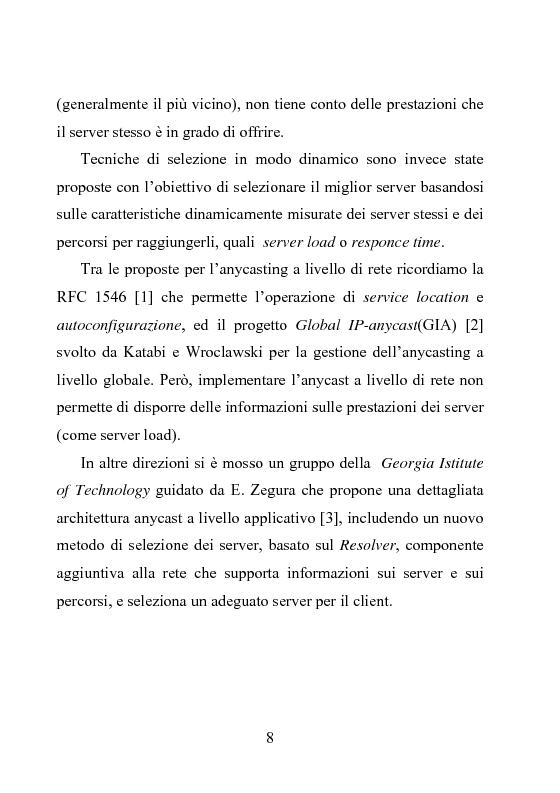 Anteprima della tesi: Architettura DiffServ per comunicazione anycast con QoS, Pagina 5