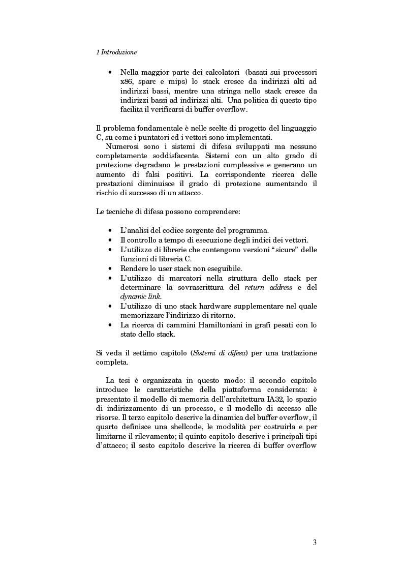 Anteprima della tesi: Sviluppo di un sistema per la ricerca automatica di Buffer Overflow su piattaforma GNU/Linux, Pagina 3