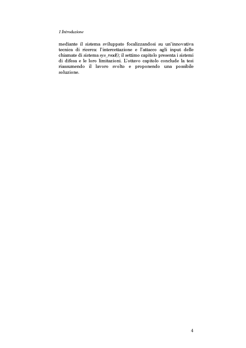 Anteprima della tesi: Sviluppo di un sistema per la ricerca automatica di Buffer Overflow su piattaforma GNU/Linux, Pagina 4