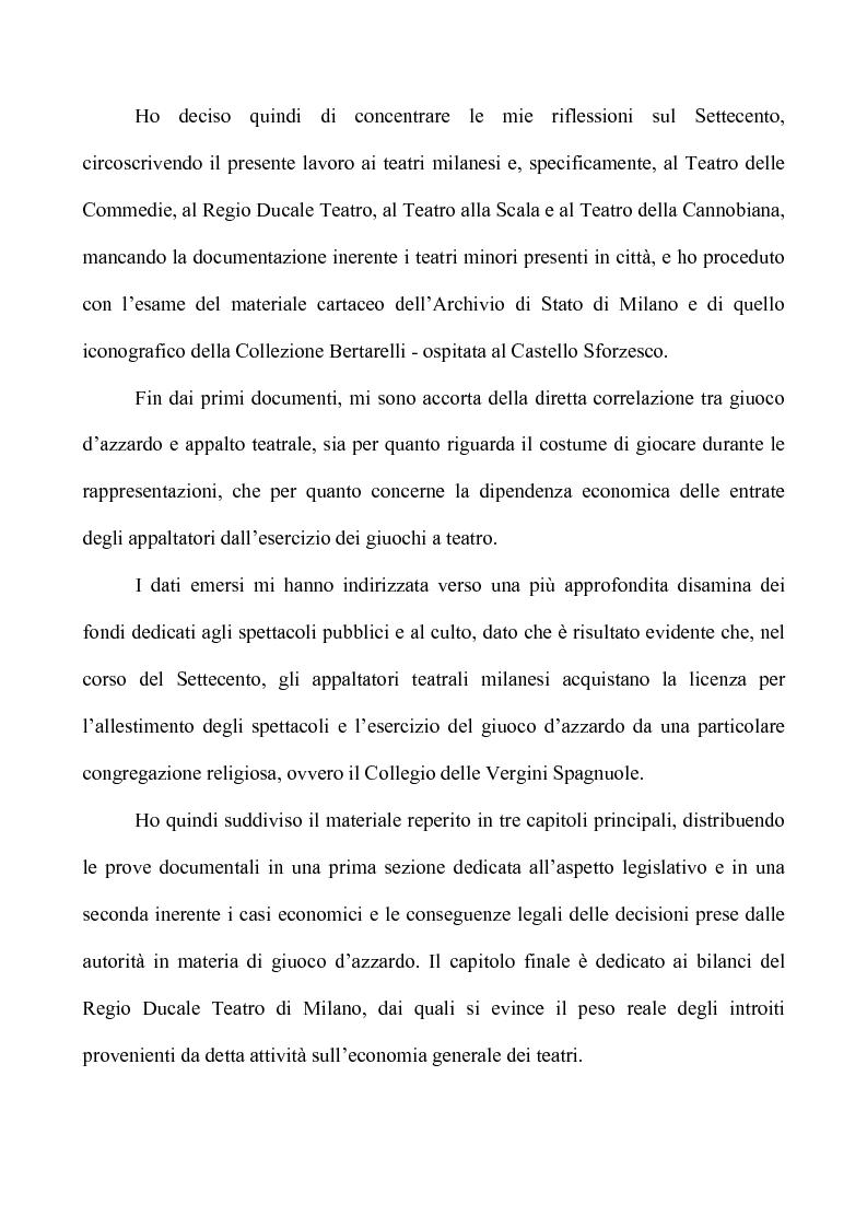 Anteprima della tesi: Teatro e Giuoco d'Azzardo a Milano nel Settecento, Pagina 2